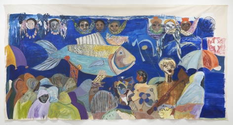 Ficre Ghebreyesus  The Sardine Fisherman's Funeral, 2002   Acrylic on unstretched canvas  96 x 188 inches (243.8 x 477.5 cm)   GL13878