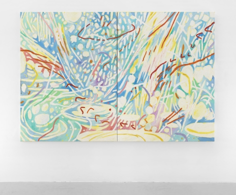 Mildred Thompson Radiation Explorations 14, 1994 Signed left edge panel 1 of 2 Oil on canvas Overall: 73.5 x 110 inches (186.7 x 279.4 cm) Panel 1 of 2: 73.5 x 55 inches (186.7 x 139.7 cm) Panel 2 of 2: 73.5 x 55 inches (186.7 x 139.7 cm) (GL12112)