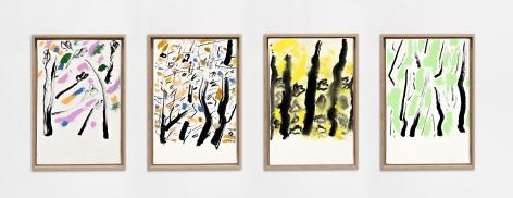 Etel Adnan Les quatre saisons, 2020 Oil on canvas Four parts, each: 13 x 8.7 inches (33 x 22 cm) Framed, each: 14.4 x 9.8 inches (36.5 x 25 cm) GL14722