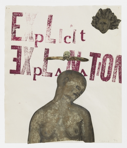 Nancy Spero, Explicit Explanation, Handprinting and gouache collage on paper