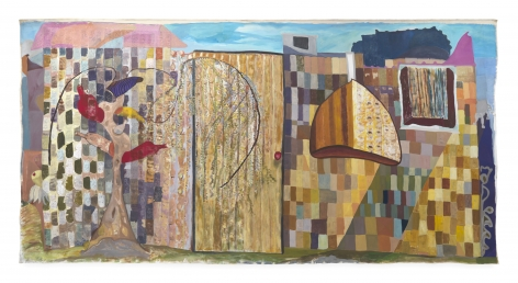 Ficre Ghebreyesus  Zememesh Berhe's Magic Garden, c.2002  Acrylic on unstretched canvas  95 x 190 inches (241.3 x 482.6 cm)  GL13877