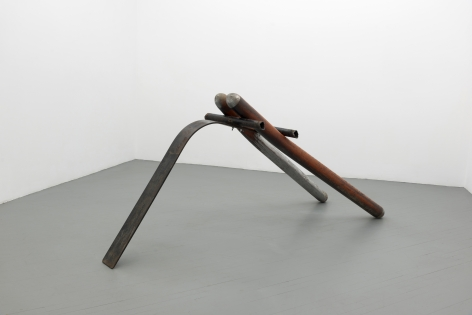 Samuel Levi Jones, sculpture made from a repurposed football seld