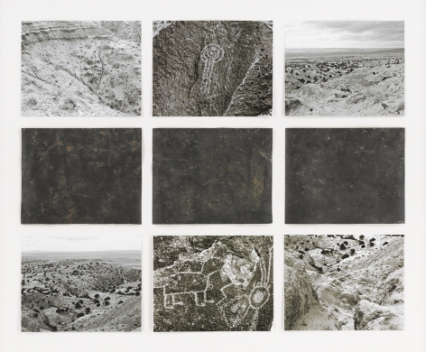 Michelle Stuart Petroglyph, Three Rivers, New Mexico, 1978 earth, graphite, muslin-mounted paper, photographs by artist from 1978 (assembled in 2010) Framed: 32.75 x 38.75 x 1.5 inches (83.2 x 98.4 x 3.8 cm) (GL14998)