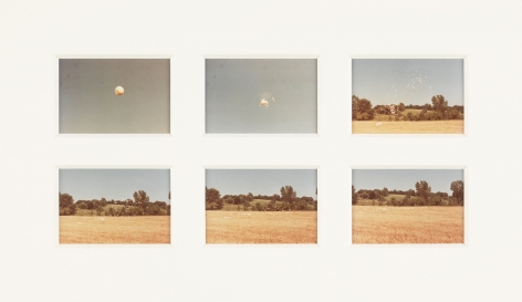 Ana Mendieta Weather Balloon, Feathered Balloon, 1974 Suite of six color photographs Each: 3.5 x 5 inches (8.9 x 12.7 cm) Framed: 17.2 x 25.4 x 1.25 inches (43.7 x 64.5 x 3.2 cm)  GL10449
