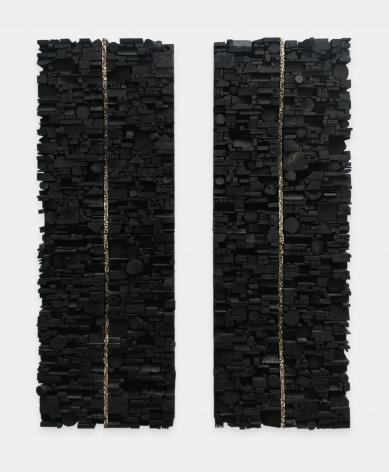 Leonardo Drew Number 231, 2020 Wood and paint Diptych, each: 73 x 24 x 5 inches (185.4 x 61 x 12.7 cm) Overall: 73 x 55 x 5 inches (185.4 x 139.7 x 12.7 cm)