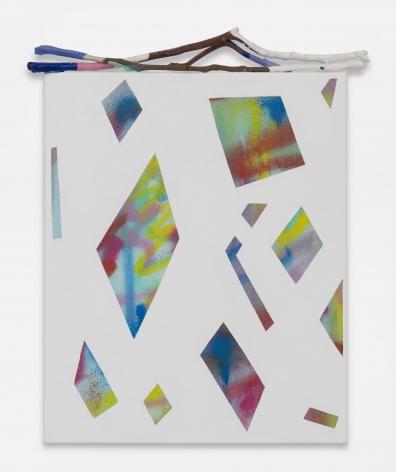 Sarah Cain Clear Day, 2018 Acrylic on canvas and sticks   22 x 18 inches (55.9 x 45.7 cm)   GL12938