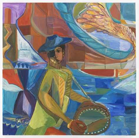 Ficre Ghebreyesus  Seated Musician with Feathered Wing, 2011   Acrylic on canvas  Diptych; each:  24 x 48 inches (61 x 121.9 cm)  Framed: 51.4 x 50.5 x 2 inches (130.6 x 128.3 x 5.1 cm)   GL13495