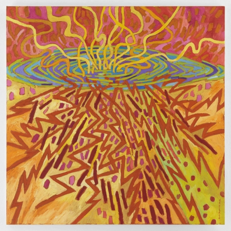 Mildred Thompson Advancing Impulses, 1997 Signed lower right Oil on vinyl 50 x 50 inches (127 x 127 cm) Framed: 51.25 x 52.5 x 2 inches (130.2 x 133.4 x 5.1 cm) (GL12103)