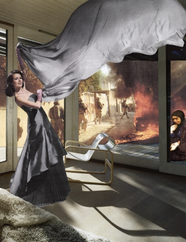 MARTHA ROSLER The Gray Drape, from the seriesHouse Beautiful: Bringing the War Home, New Series