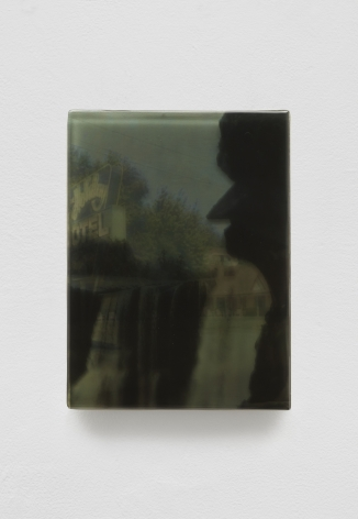 SADIE BENNING,Pain Thing 2,Detail, Sequence 16, Panel 53 (Corbin, Kentucky), 2019, wood, photographic transparencies, aqua resin and resin, 53 panels/16 sequences, each: 9 3⁄4 by 7 1⁄4 in. 24.8 by 18.4 cm.