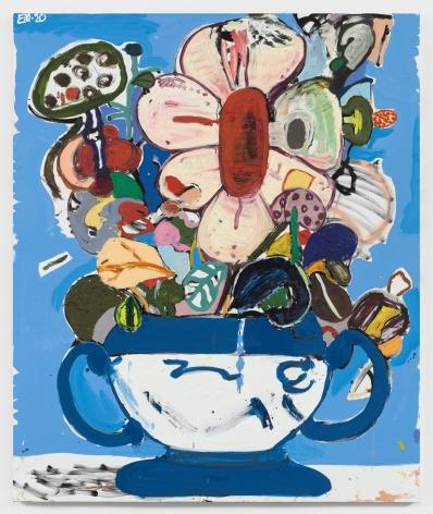 EDDIE MARTINEZ  Untitled (Flower pot with blue background)  2020