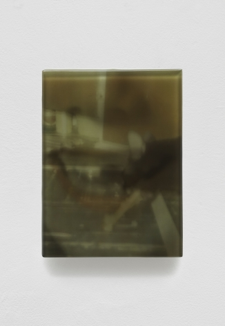 SADIE BENNING,Pain Thing 2,Detail, Sequence 7, Panel 28 (Peter, Paul, and Mary / Chicken Bone), 2019, wood, photographic transparencies, aqua resin and resin, 53 panels/16 sequences, each: 9 3⁄4 by 7 1⁄4 in. 24.8 by 18.4 cm.