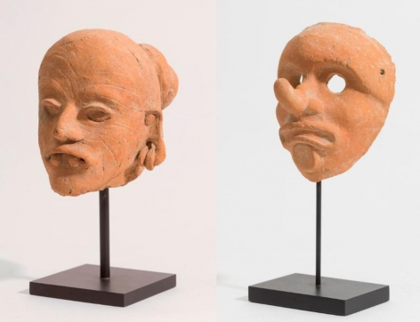 MEXICAN Head of an Elderly Person, together with its Face Mask, God M (Ek Chuah)