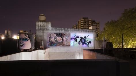 Installation view ofCamp Firesat UV Estudios, Buenos Aires, 2019