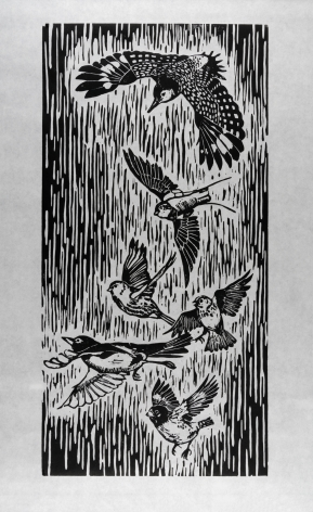 Sachiko Akiyama  Migration, n.d.  Woodblock print on paper  22h x 11w in 55.88h x 27.94w cm  SA_004, black and white wood block print of migratory birds