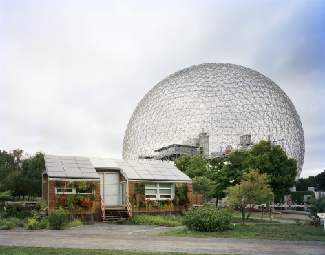 """Jade Doskow, Montreal 1967 World's Fair, """"Man and His World,"""" Buckminster Fuller's Geodesic Dome with Solar Experimental House, 2012, Archival inkjet print. Photography."""