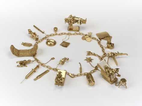 Margaret Curtis  Charm Bracelet of My Reproductive Career, 2020  Mixed Media  Dimensions Variable, charm bracelet featuring several charms depicting stages of a woman's reproductive life.