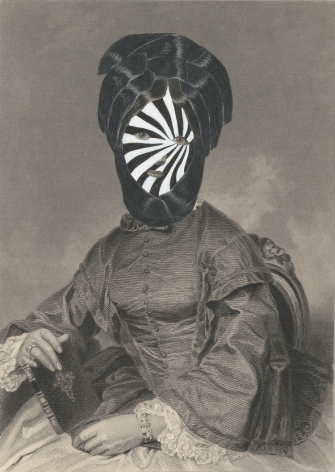 Kirsten Stolle, Mrs. Tobias Wilson 1860/2015, from the series de-identified, 2015, gouache, ink, and collage on 19th century engraving, 7 1/2h x 5w in, mixed media
