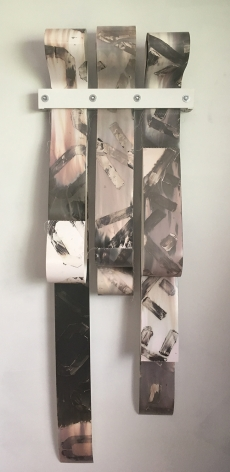 Bridget Conn  Mantra #4, 2019  Silver Gelatin Photographic Chemigrams, wood, metal  62h x 21w x 2d in