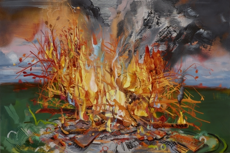 Margaret Curtis  Blazing World, 2020  Oil on Panel  48h x 60w in 121.92h x 152.40w cm  MC_053, oil painting of a bright yellow and orange fire, with textured swirls of smoke set in a landscape