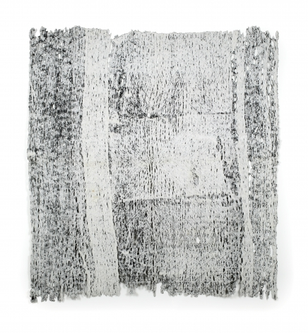 Rachel Meginnes  Imprint, 2019  Deconstructed quilt and acrylic  78h x 70w in