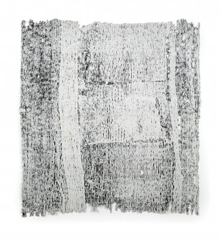 Rachel Meginnes  Imprint, 2019  Deconstructed quilt and acrylic  78h x 70w in