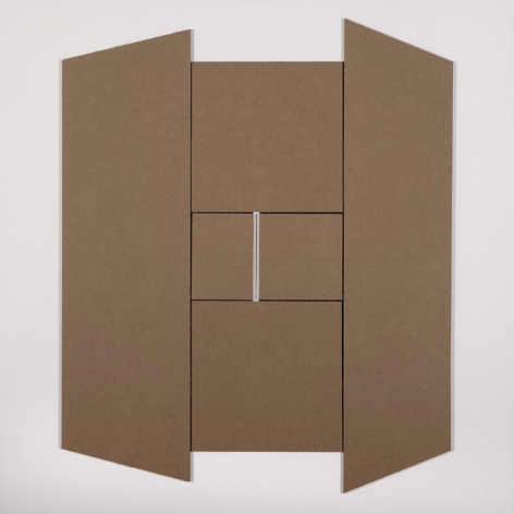 Ralston Fox Smith  Box, 2017  Cardboard on Panel  24h x 24w in 60.96h x 60.96w cm, mixed media, abstractions