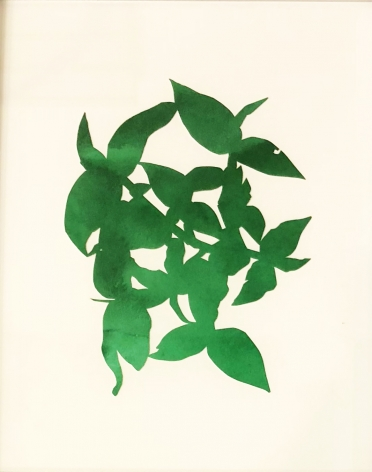 Hannah Cole  Dark Green Weed, 2018  watercolor on cut paper, art, downtown asheville,