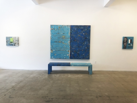 Green Reflection, acrylic and hammock on panel, Blue Reflections, Acrylic on panel and handmade bench, Rigid Ooze, inkjet and acrylic on panel