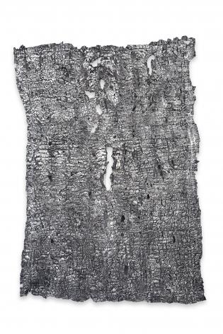 Rachel Meginnes, Seep, 2017  Deconstructed quilt, cotton batting, crylic and India ink  38 x 28 inches, unique, Textiles
