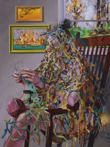Margaret Curtis  Portrait of my Anxiety, 2019  Oil on Panel  48h x 36w x 2d in 121.92h x 91.44w x 5.08d cm  MC_019, oil painting of a woman sitting, knitting in a rocking chair covered in tarn, while the world outside the window burns