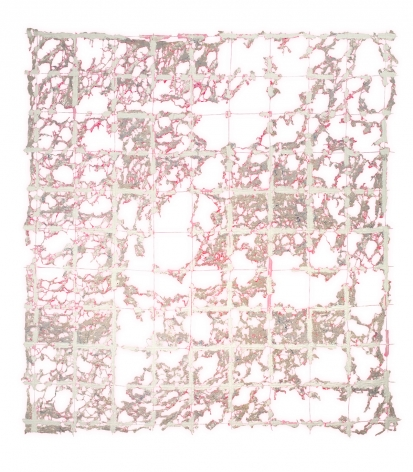 Rachel Meginnes  Safety Net, 2018  Deconstructed quilt, cotton fabric, cotton string, and acrylic  90h x 82w in, painting, contemporary art