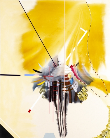 Luke Whitlatch  Some speak of the Sunlike, 2020  Dye, Acrylic and Oil on Canvas  40h x 50w in 101.60h x 127w cm  LW004 bright yellow abstract painting