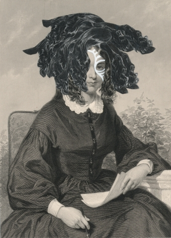 Kirsten Stolle, Miss Abigail Parks 1860/2014, from the series de-identiied, gouache and collage on 19th century engraving