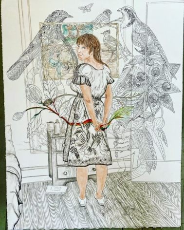 Orly Cogan  The life of Imagination, 2020  Ink, colored pencil, granite on paper  33h x 27w in, drawing of the artists in her studio, with birds