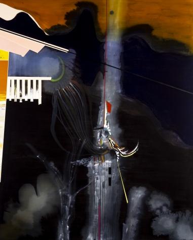 Luke Whitlatch  Rise of the Rumble Man, 2020  Dye, Acrylic and Oil on Canvas  62h x 76w in 157.48h x 193.04w cm  LW001 dark abstract painting