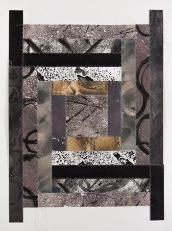 Bridget Conn  Pattern-Speak #2, 2018  Silver gelatin photographic chemigram collage, thread  19 1/2h x 15 1/2w in 49.53h x 39.37w cm  Framed: 21 1/4h x 17 1/4w in 53.98h x 43.82w cm