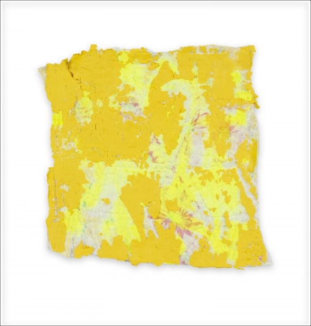 Rachel Meginnes  Bit, 2019, Mixed Media, Deconstructed quilt and acrylic  7 1/2h x 7 1/4w in 19.05h x 18.42w cm  Unique