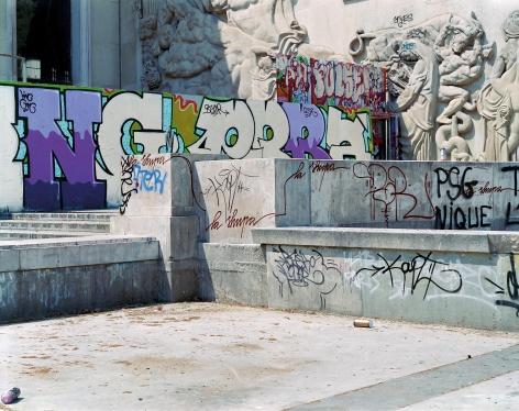 Jade Doskow  Paris 1937 World's Fair, Exposition Internationale des Arts et Techniques dans la Vie Moderne, Graffiti, Palais de Tokyo, 2007  Digital Chromogenic Print  20h x 25w in, Photographs, Fine Art, Contemporary Art, Asheville