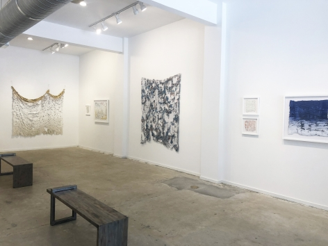 Installation view (from right: weep, 2019, Immemory, 2019, Aftermath, 2019, Bloom, 2019, Overlay, 2019, Fallback, 2019, Effective Remedy, 2019)