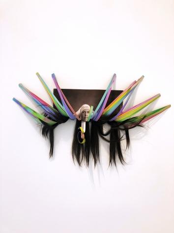 Ivana Larrosa  Flying Nun, 2015  Archival print, scans, hair  25h x 20w x 1d in, unique, Photography, Future Past