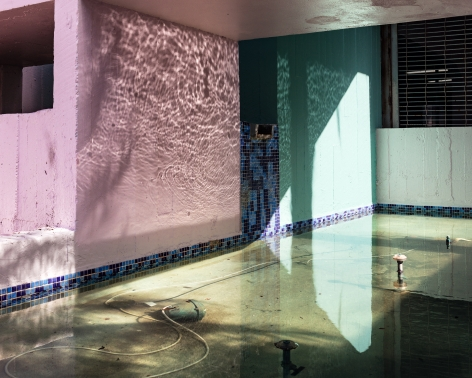 Fountain, 2017  Archival pigment print  40 x 50 inches  Edition of 5, from the series Flood Zone, Pink and blue walls with a water reflection