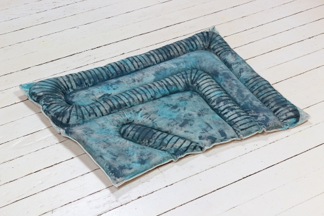 Susan Metrican  Night Crawler, 2020  acrylic on cotton, canvas, recycled cotton, thread  22h x 29w in 55.88h x 73.66w cm  SM_005, blue floor cushion with the painted and fabric pattern of earth worms