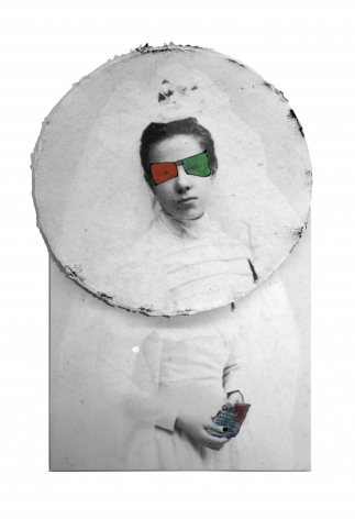 Ivana Larrosa  Blind Color Bride from the Engram series, 2015  Archival print, watercolor, marker  19h x 11 1/2w in, unique, photography, Future Past