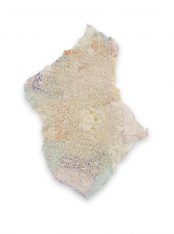 Rachel Meginnes  Seed, 2019, Mixed Media, Quilt fragment and hand stitching  11h x 7w in 27.94h x 17.78w cm  Unique