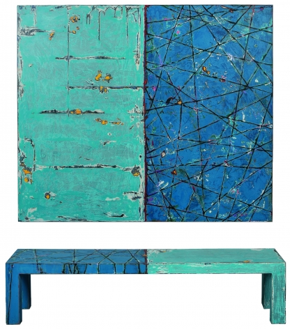 Randy Shull  Blue Reflection, 2017  Acrylic on wood panel, handmade hand-painted bench  92h x 72w x 16d in