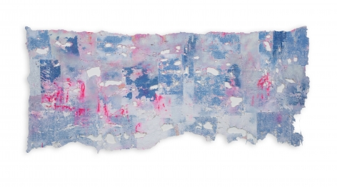 Rachel Meginnes  Float, 2019  Deconstructed quilt, hand stitching, image transfer, acrylic, and spray paint  28h x 60w in