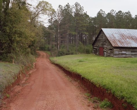 Tema Stauffer  Red Clay Driveway, Perdue Hill, Alabama, 2019  Archival Pigment Print  30h x 36w in. Photograph Featuring A driveway made of red clay with a barn structure in the background to the right surrounded by evergreen trees.