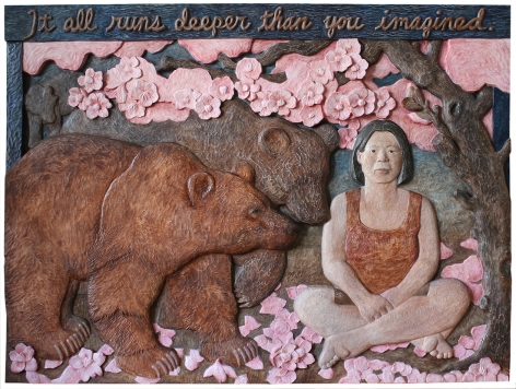 Sachiko Akiyama  Deeper Than You Imagined, 2012  Wood and Paint  49h x 36 1/2w x 2d in. a relief sculpture carved into wood depicting two bears and a female figure sitting beneath a tree amongst a flourish of pink flowers