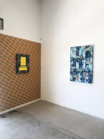 Sight Lines, 2019, Inkjet and Acrylic on panel. Custom Phototex Wallpaper. Mayan Protrusions, 2019, Acrylic and hammock on panel